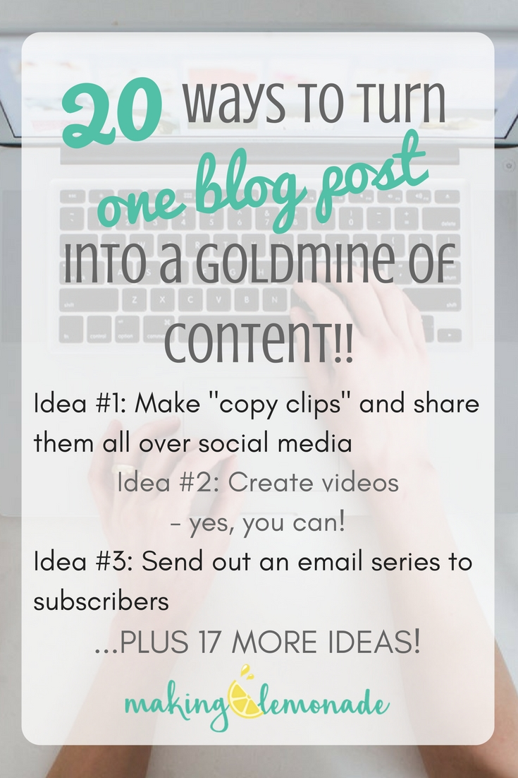 20 ways to turn one blog post into 20 pieces of content