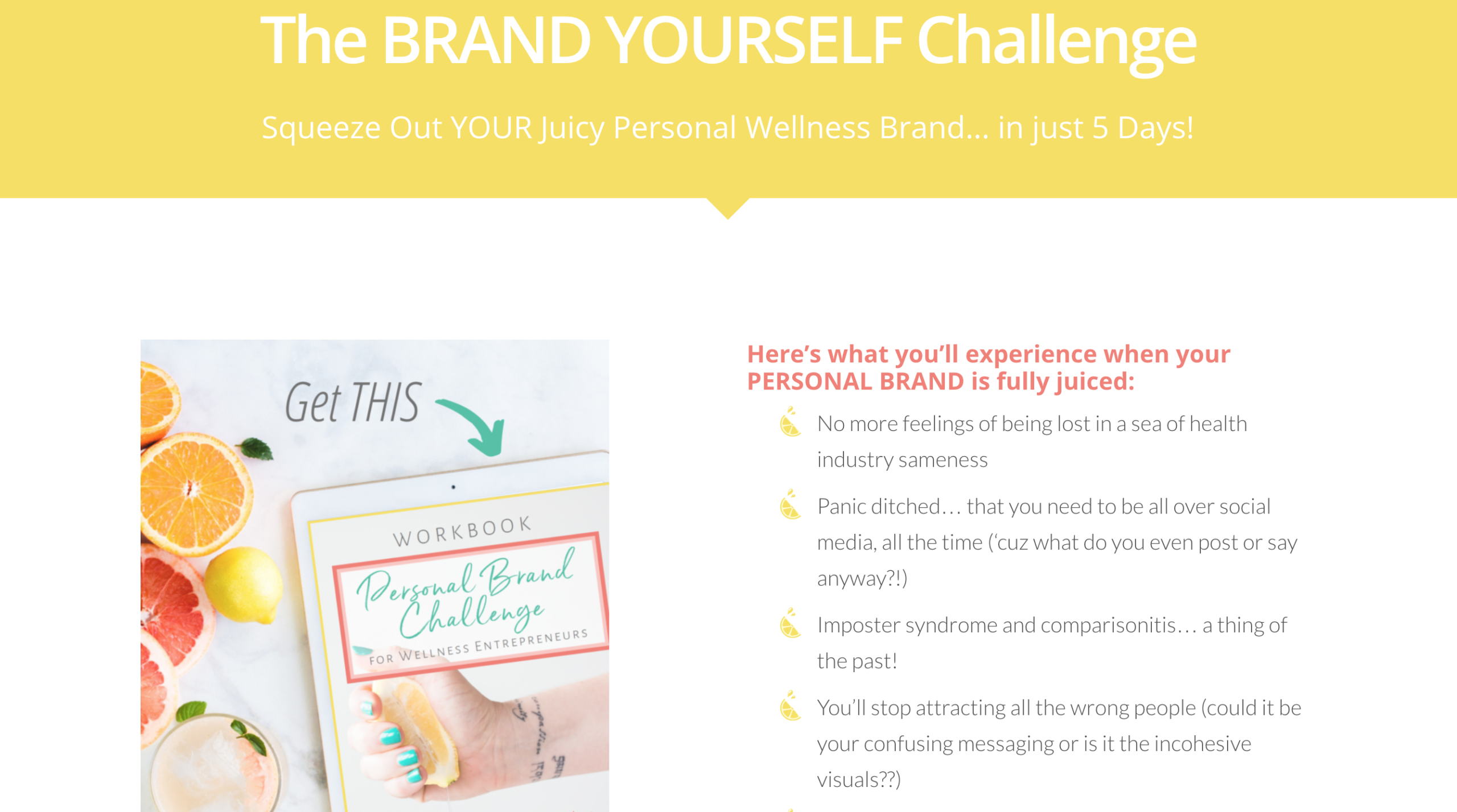 Landing page example | 5-day Brand Yourself Challenge | Krista Goncalves Co.